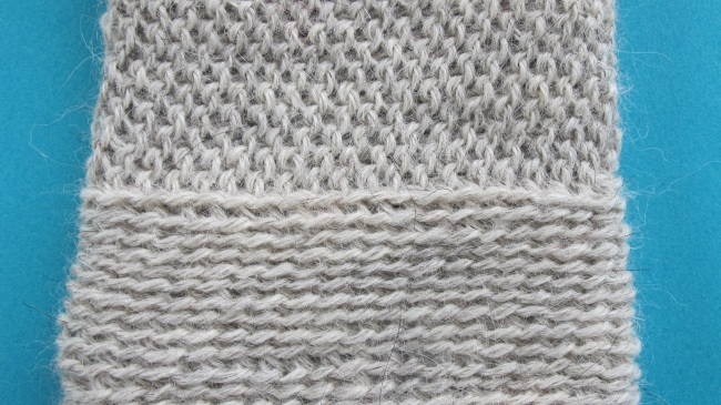 back loop and front loop swatch