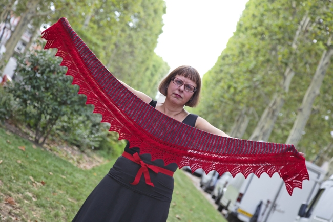 red sun knitted shawlette