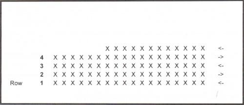 Grille rangs raccourcis au crochet 1