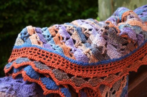 foulard de soie bleu/rouille