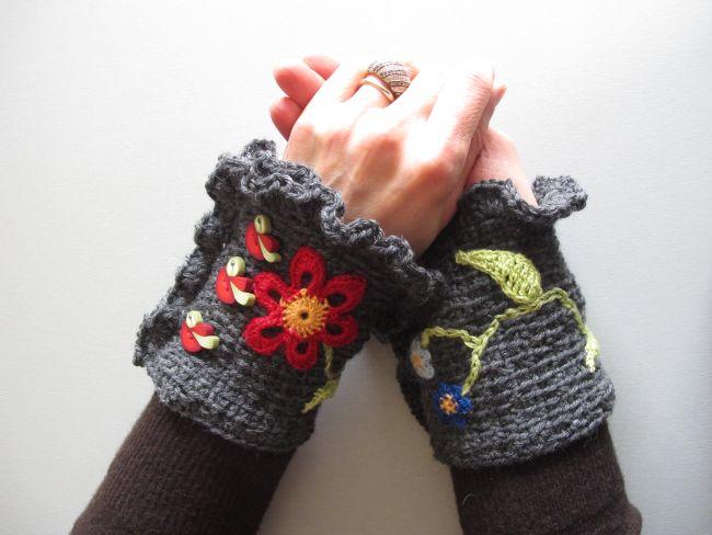 finished wrist warmers