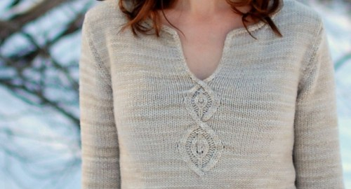 Cabled Leaf Pullover Final