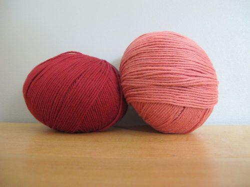 Coton bio d'Annette Petavy Design, coloris tomette et rose antique (unis)
