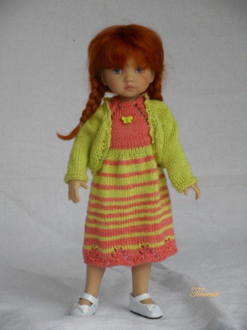 Vêtement poupée tricoté par Ticoeur en bambou dentelle d'Annette Petavy Design