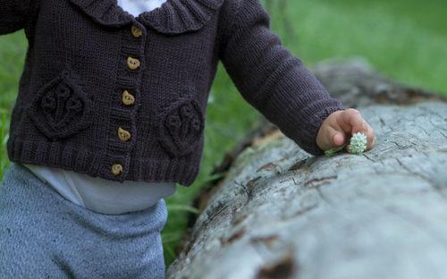 Petits bourgeons, veste du livre Baby Botanicals d'Alana Dakos, disponible chez Annette Petavy Design